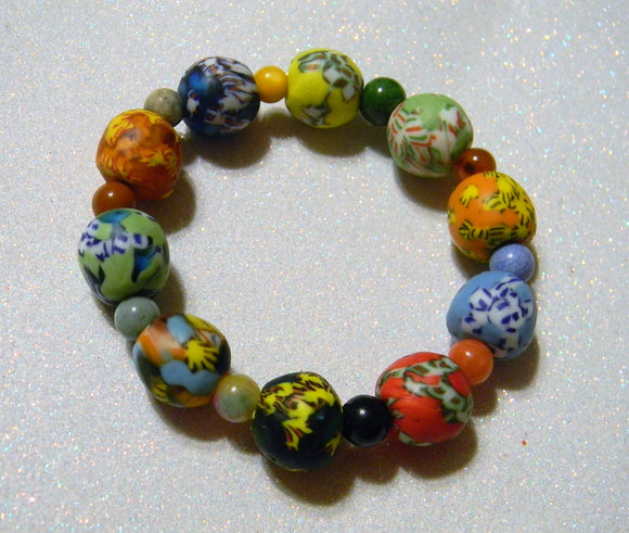 Multicolor Large Krobo Powder Glass Bead and Gemstone Stretch Bracelet