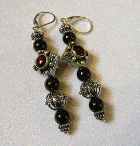 Long Garnet and Bali Silver Drop Earrings