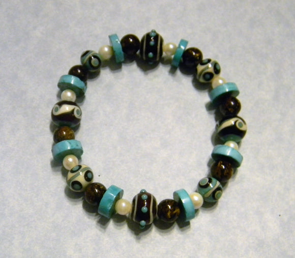 Turquoise, White and Brown Art Glass Bead and Gemstone Stretch Bracelet