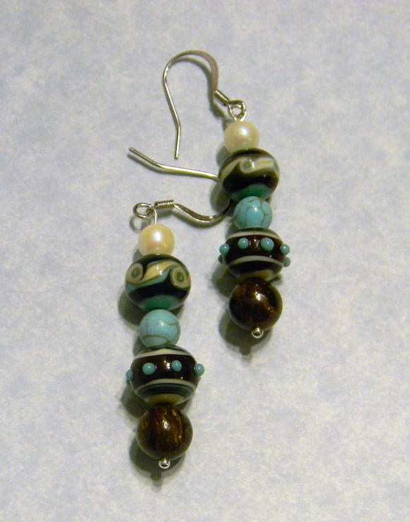 Turquoise, White and Brown Art Glass Bead and Gemstone Drop Earrings