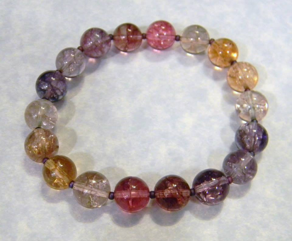 Pink, Purple and Peach Cracked Crystal Quartz Stretch Bracelet