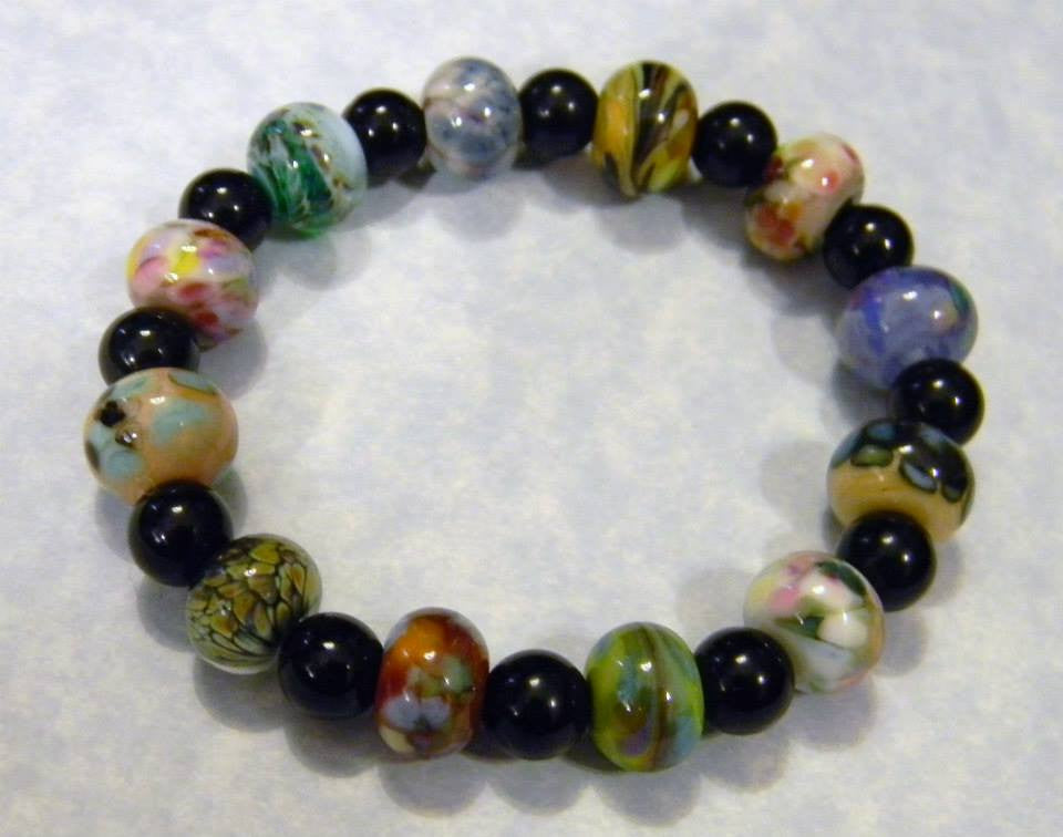 Orphan Art Glass Lampwork Bead and Onyx Stretch Bracelet