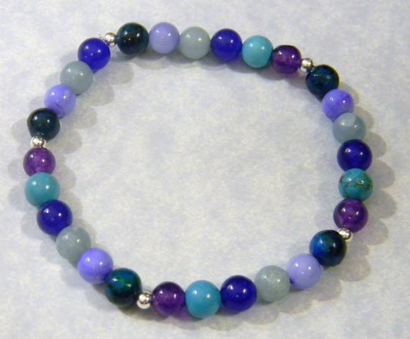 Shades of Blue and Purple Gemstone and Silver Stretch Bracelet