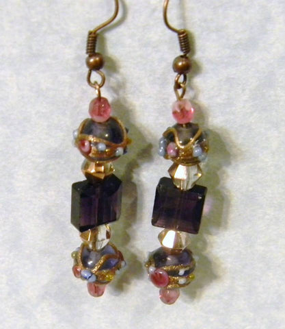 Pink and Purple Wedding Cake Bead, Faceted Glass and Crystal Drop Earrings