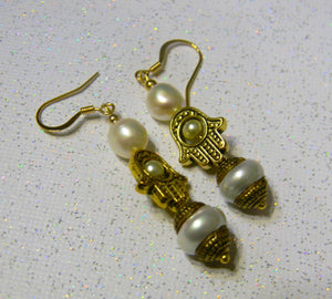 Gold Hamsa Bead Frame and Freshwater Pearl Drop Earrings