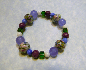 Monet Water Lily Art Glass Lampwork, Gemstone and Crystal Stretch Bracelet