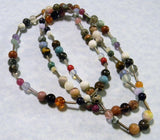 Rainbow Multigemstone and Silver Heishi Bead Necklace