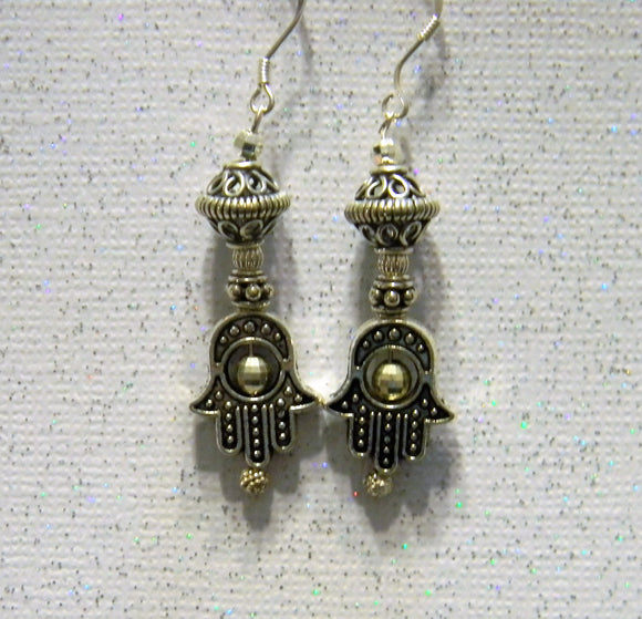 Bali and Sterling Silver Drop Earrings with Hamsa Beadframes
