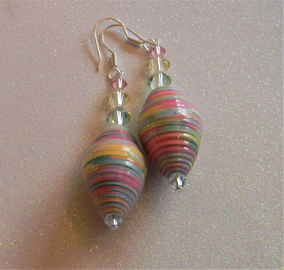 Pastel Multicolor Rolled Paper and Crystal Drop Earrings