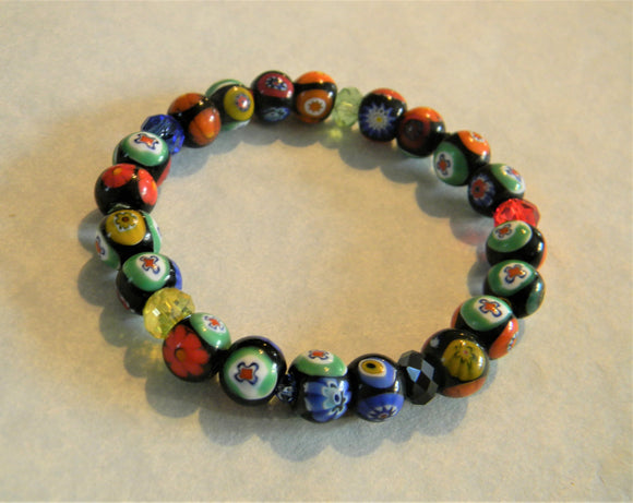 African Multicolor Millefiori, Cut Glass and Crystal Bicone Stretch Bracelet