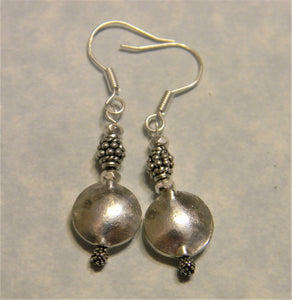 All Silver Bali Bead and Hill Tribe Disk Drop Earrings