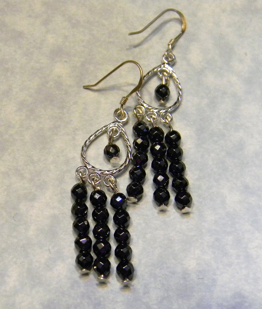 Faceted Hematite and Silver Chandelier Earrings