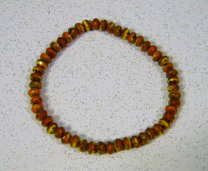 Autumn Colored Faceted Faience Bead Stretch Bracelet