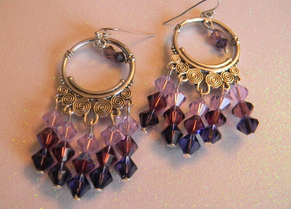 Shades of Purple Crystal Bicones and Silver Chandelier Earrings
