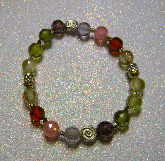 Rainbow Multicolor CZ and Silver Bead Stretch Bracelet