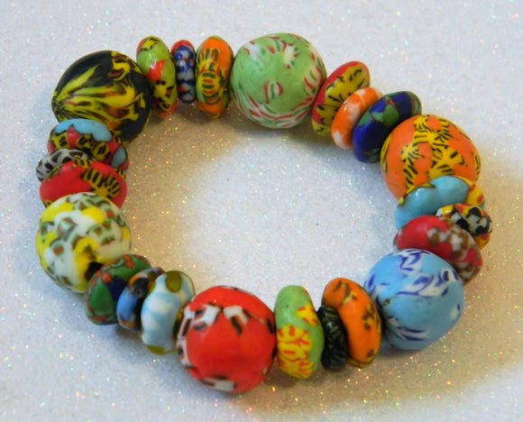 Multicolor Mixed African Krobo Powder Glass Rounds and Disk Bead Stretch Bracelet