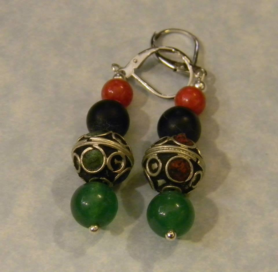 Moroccan Enamel and Green, Blue and Red Gemstone Drop Earrings