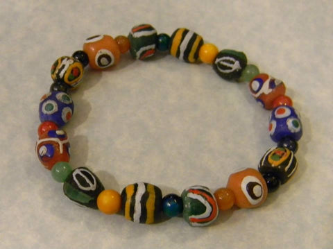 African Krobo Powder Glass Multicolor Bead and Gemstone Stretch Bracelet