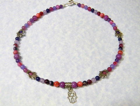 Shades of Purple and Pink Gemstone Hamsa Necklace