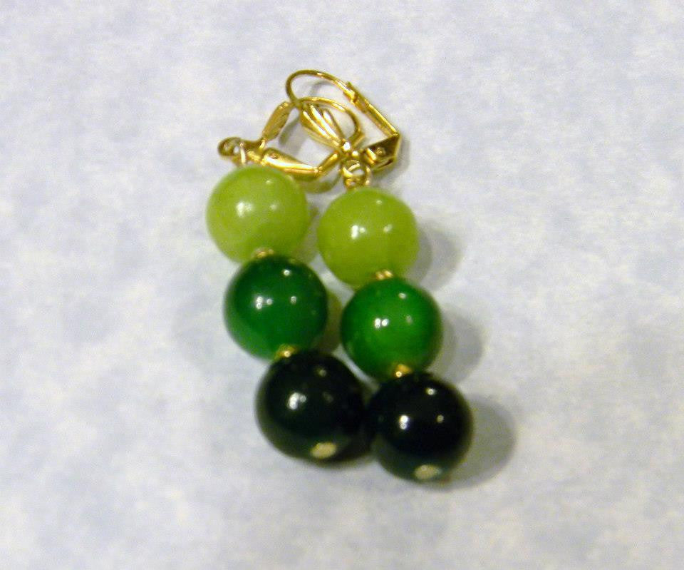 Shades of Green Agate and Gold Bead Stretch Earrings