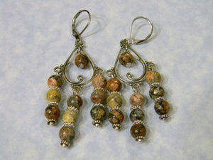 Leopard Jasper and Bali Silver Earrings