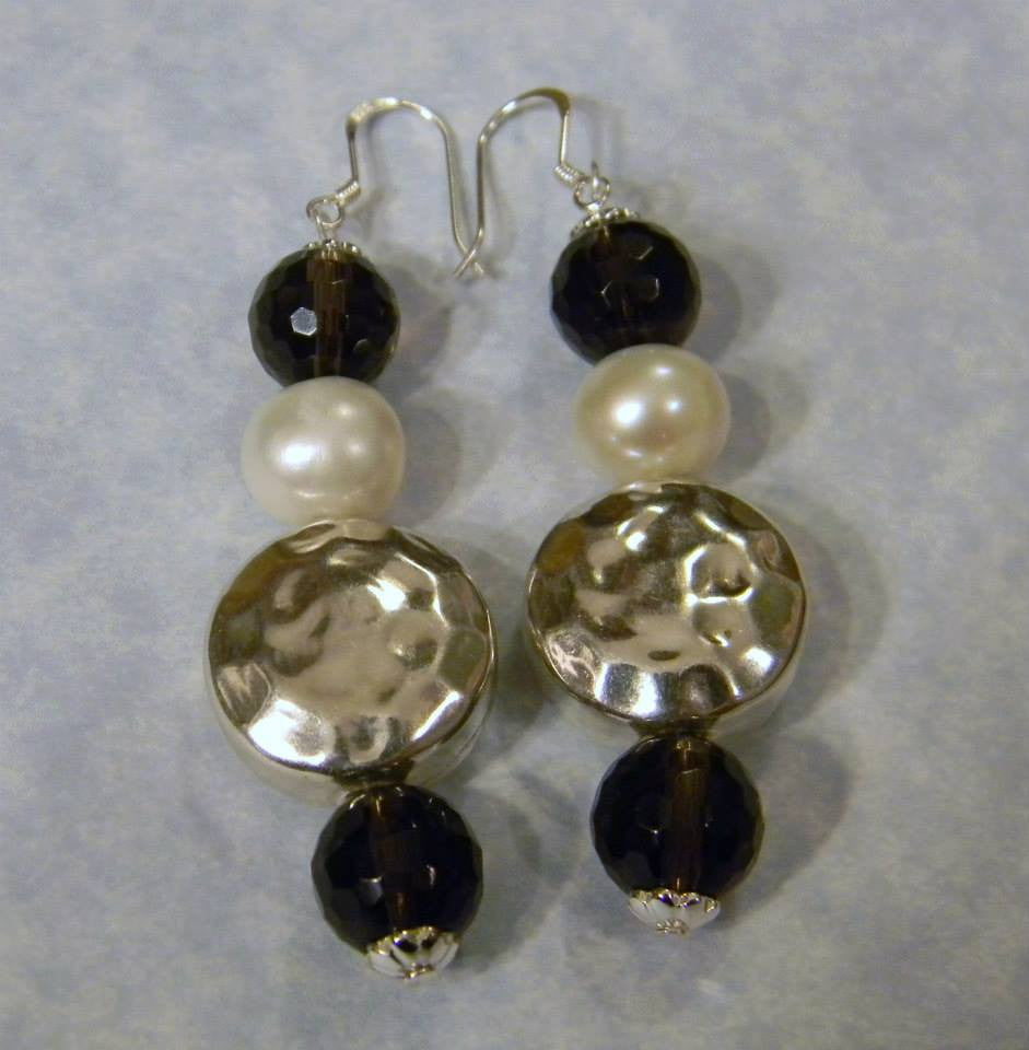 Thai Karen Hammered Silver, Pearl and Smoky Quartz Earrings.