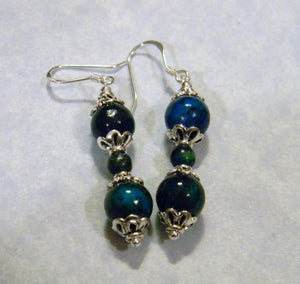 Chrysocolla and Silver Drop Earrings