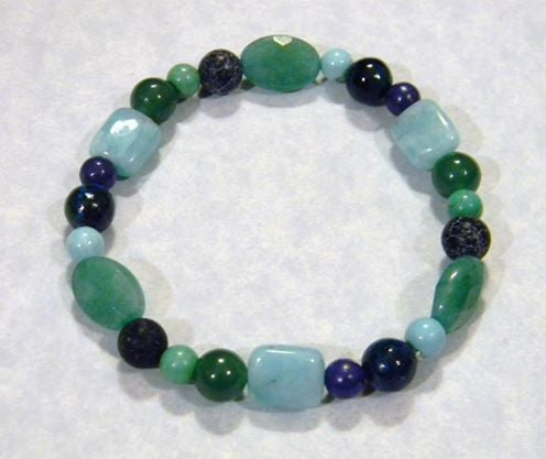 Shades of Blue, Green and Turquoise Gemstone Stretch Bracelet