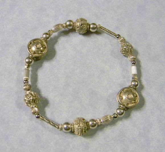 All Silver Bali Bead and Sterling Stretch Bracelet