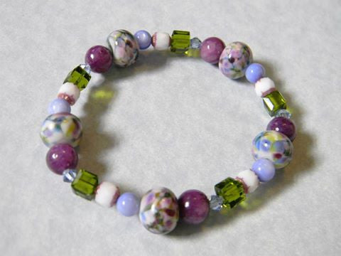 Art Glass Lampwork, Crystal, Gemstone and Cathedral Bead Stretch Bracelet