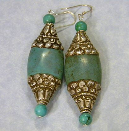 Turquoise and Tibetan Silver Drop Earrings