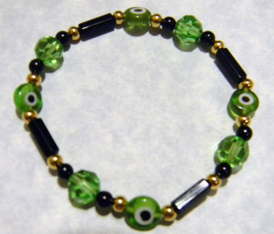 Onyx, Gold Bead and Green Crystal and Evil Eye Stretch Bracelet