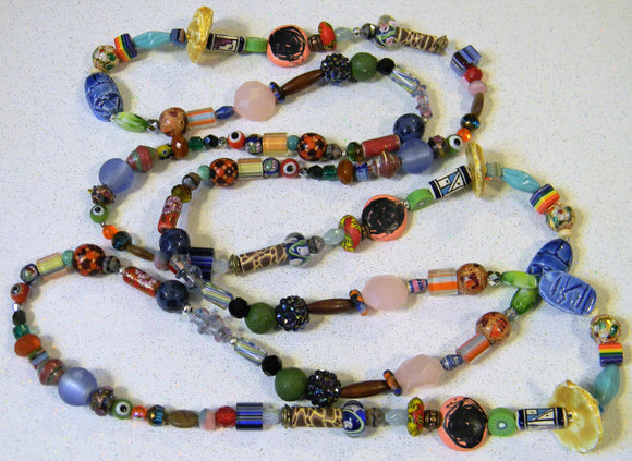 Multicolor Glass, Acrylic and Ceramic and Other Bead Long Necklace
