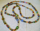 Multicolor Glass, Acrylic and Ceramic Bead Long Necklace