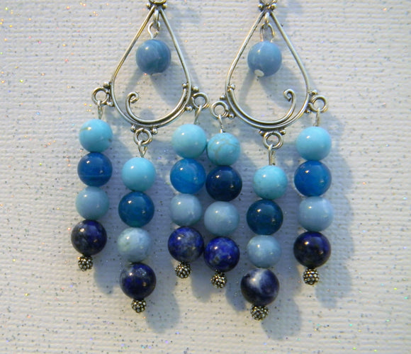 Shades of Blue and Turquoise Gemstone Chandelier Earrings