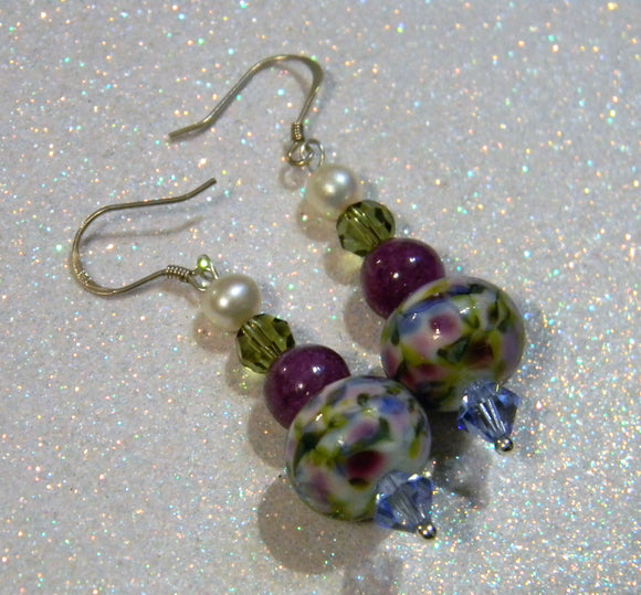 Monet Water Lily Art Glass Lampwork, Crystal and Gemstone Drop Earrings