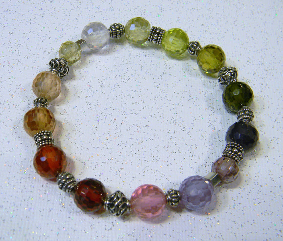 Rainbow Faceted CZ and Bali Silver Bead Stretch Bracelet