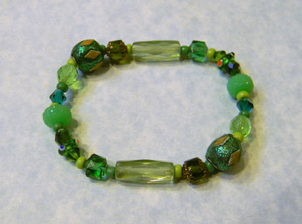Shades of Green Glass, Crystal, Acrylic and Kashmiri Lac Bead Bracelet