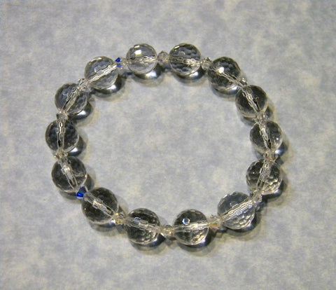 Clear Faceted Quartz and Crystal Stretch Bracelet