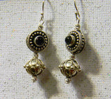 Bali Silver and Iolite Bead Drop Earrings