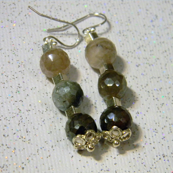 Faceted Irradiated Moonstone and Silver Cube Drop Earrings