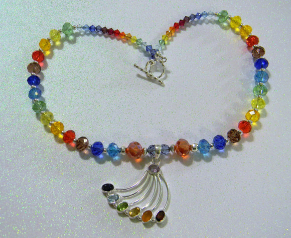 Rainbow Gemstone Pendant and Crystal Necklace