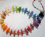 Multicolor Rainbow Meringue Paper Maché and Crystal Necklace