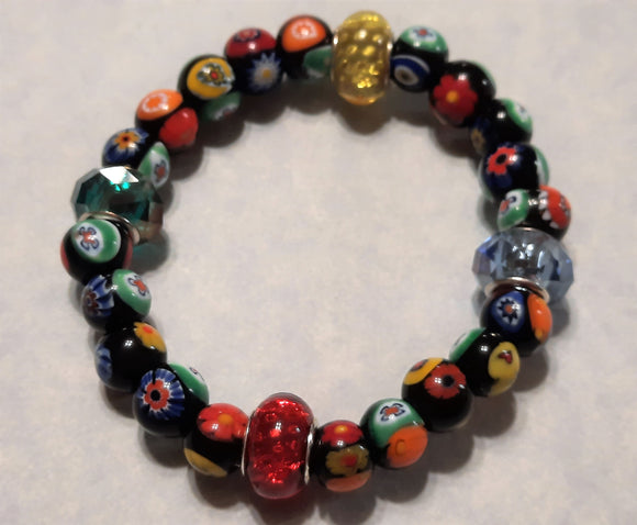 African Multicolor Millefiori and Glass Bead Stretch Bracelet