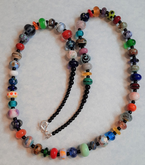 Multicolor Orphan Art Glass Lampwork Bead and Black Agate Necklace