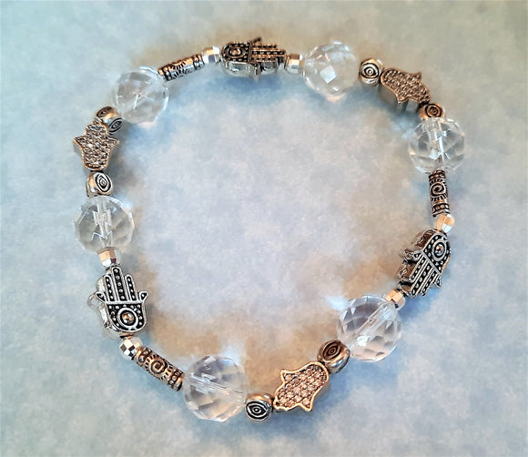 Crystal Quartz, Silver and Pavé Hamsa and Evil Eye Stretch Bracelet