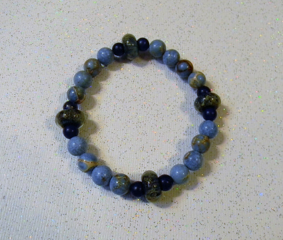 Dumortierite, Lapis and Shades of Blue Art Glass Lampwork Stretch Bracelet
