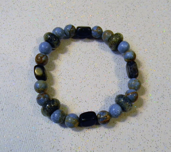 Dumortierite, Sodalite and Shades of Blue Art Glass Lampwork Stretch Bracelet