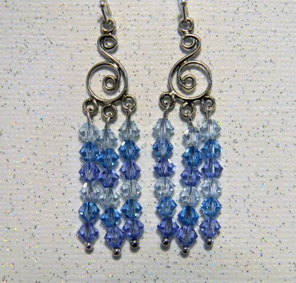 Shades of Pastel Blue Crystal Bicone Chandelier Earrings
