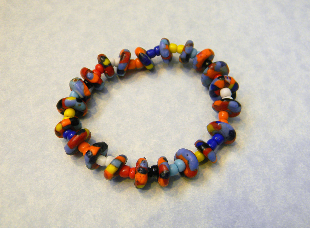 Brightly Colored African Krobo Spacer and Glass Seed Bead Stretch Bracelet